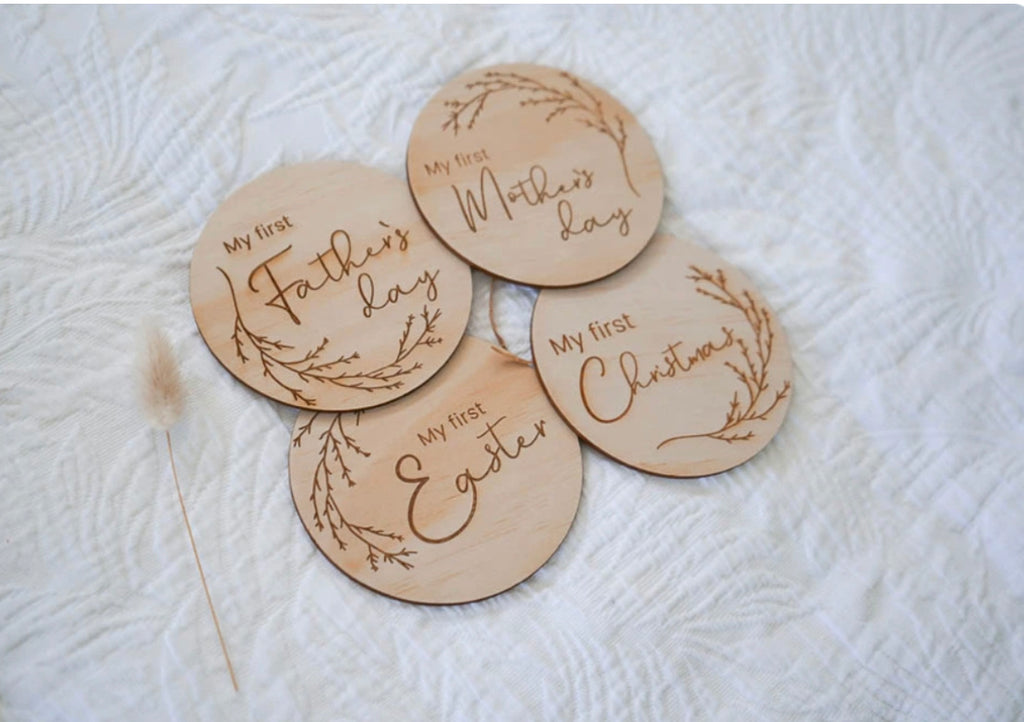 WOODEN SPECIAL CALENDAR DATE DISCS - WHIMSICAL