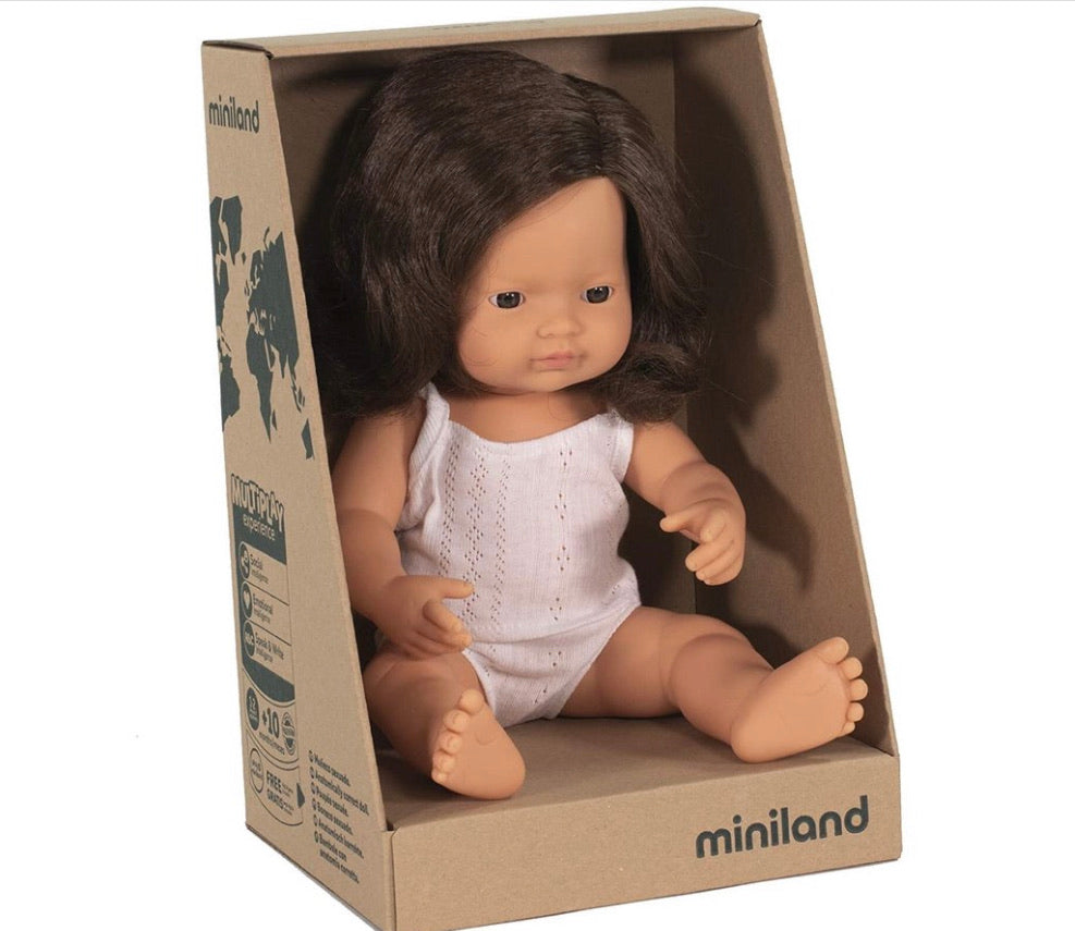 Miniland Doll - Brunette Girl 38cm - Boxed