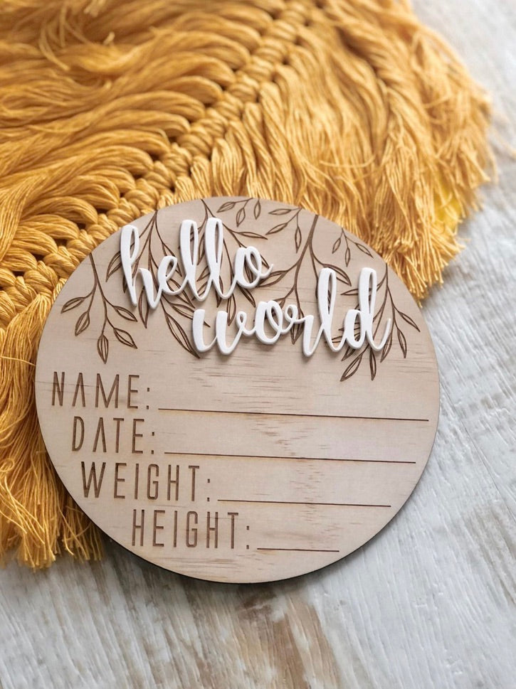 Hello World - Birth Announcement Disc