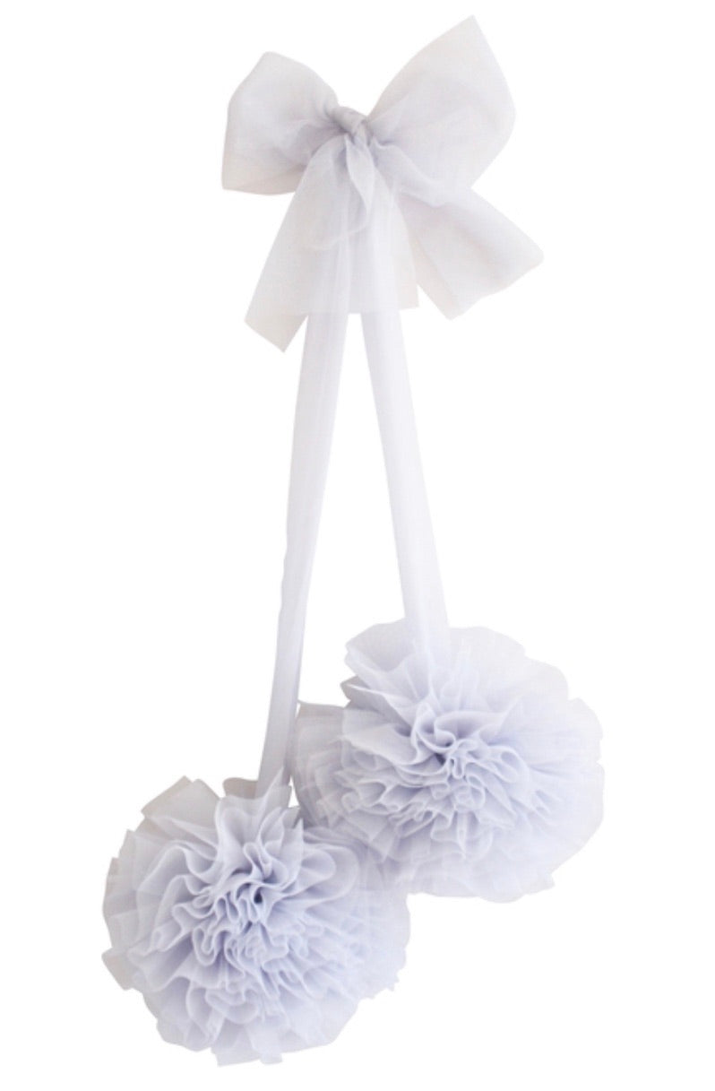 Tulle Pom Pom Decor 2 piece Set - Mist