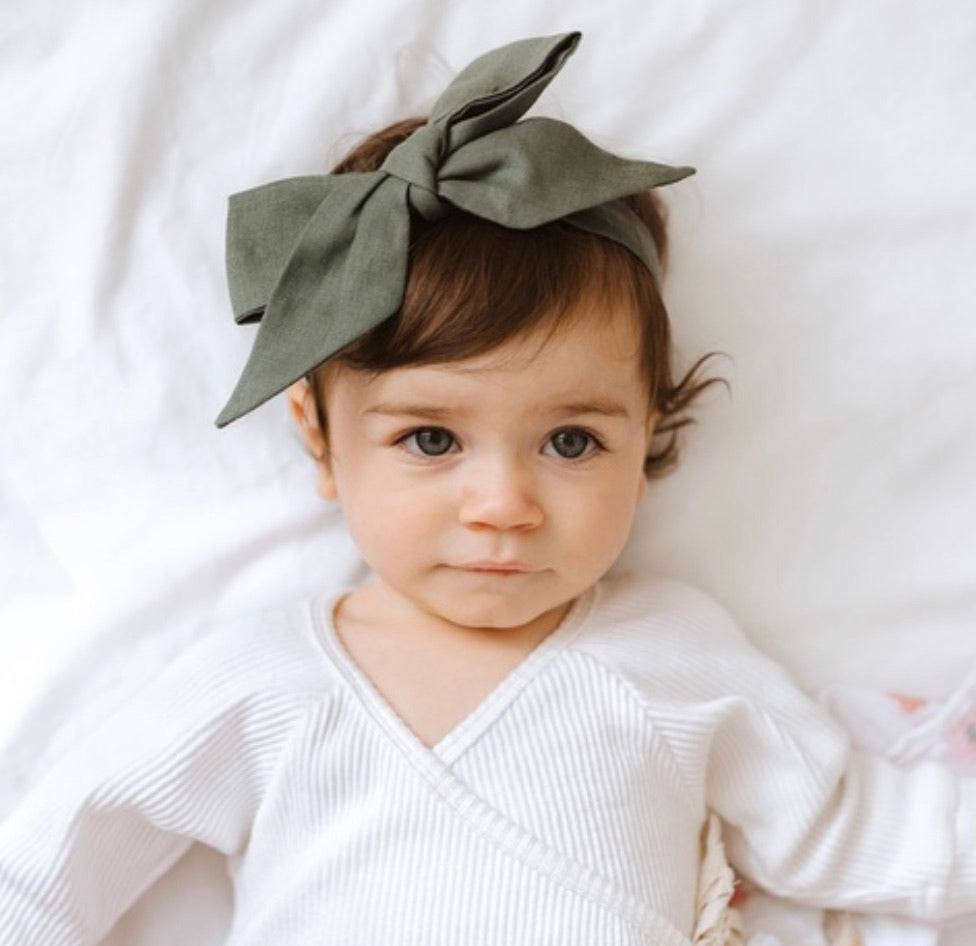Dusty Olive Linen Bow Pre-Tied Headband Wrap