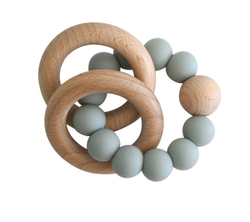 BEECHWOOD TEETHER RINGS - SAGE GREEN