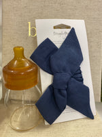 Navy Linen Bow Pre-Tied Headband Wrap