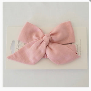 Dusty Pink Linen Pre-Tied Bow