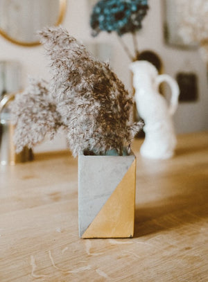 Concrete Vase - gold
