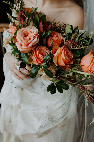bridal bouquet rust colored