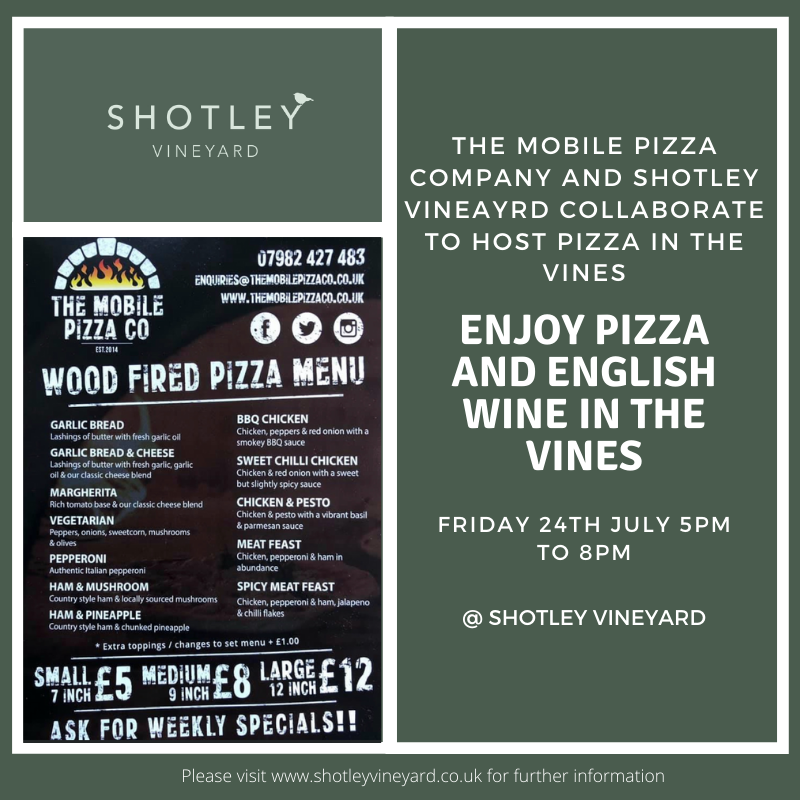 Pizza in the Vines 24th July 2020 - Now fully booked
