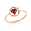 Solitaire Ruby Heart Rope Band