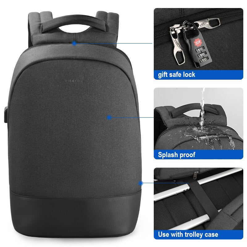 "2019 Tigernu 15.6""Laptop USB Charging Waterproof Anti Theft Men Backpack School Travel Backpack Male Casual Bagpack For Men"