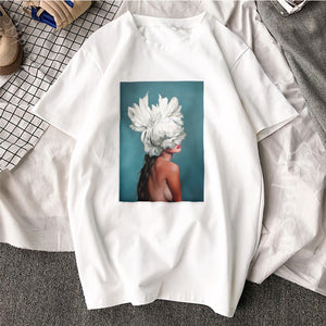New Cotton Harajuku Aesthetics Tshirt Sexy Flowers Feather Print Short Sleeve Tops & Tees Fashion Casual Couple T Shirt