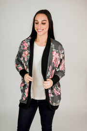 Long Sleeve Floral Knit Print Cardigan