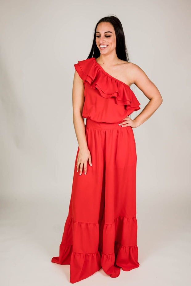 One Shoulder Wide Leg Jumpsuit