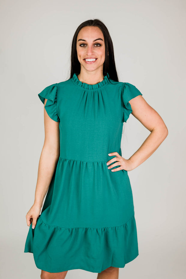 Tiered Ruffle Mock Neck Dress