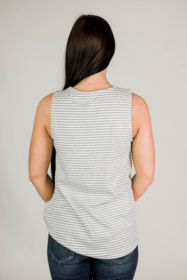 Stripe Knot Front Tank