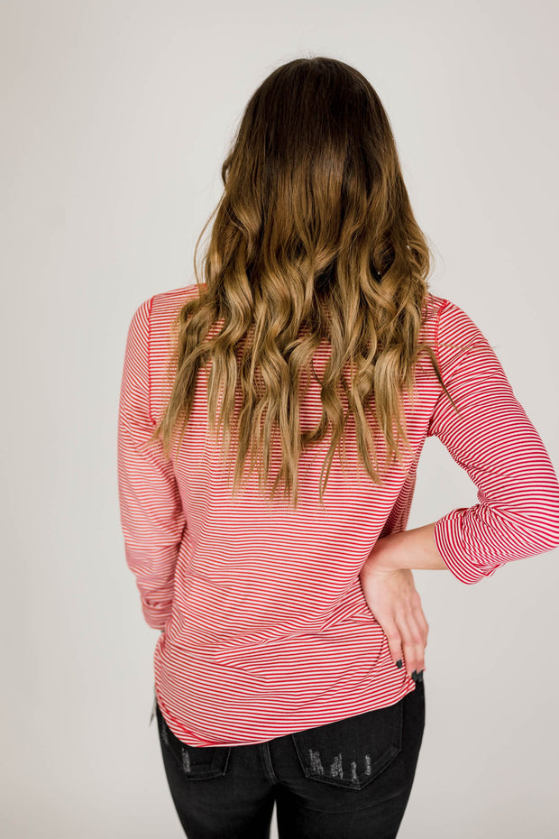 Striped Long Sleeve with Buttons