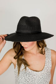Leather Strap Straw Black Panama Hat