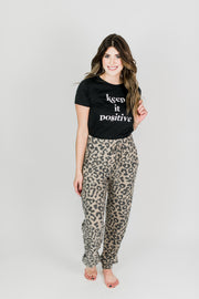 High-Waisted Leopard Fleece Joggers