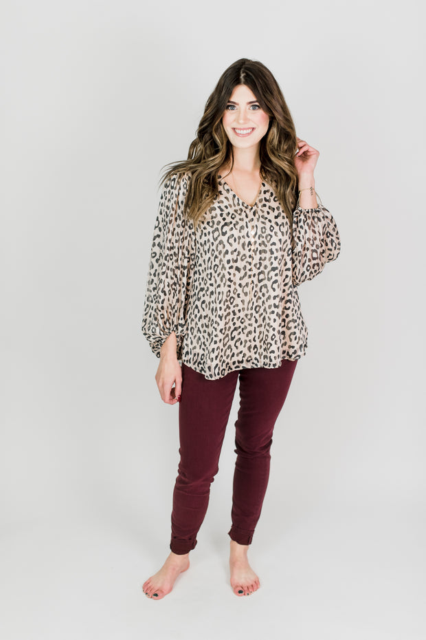 Bubble Sleeve Animal Print V-Neck Top