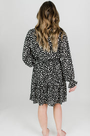 Smocked Pebble Print Ruffle Dress