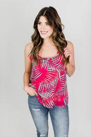 Tropical Ruffle V-Neck Tank
