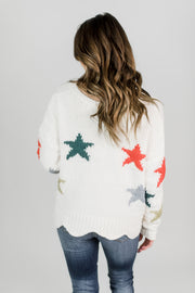 Colorful Star Cropped Sweater