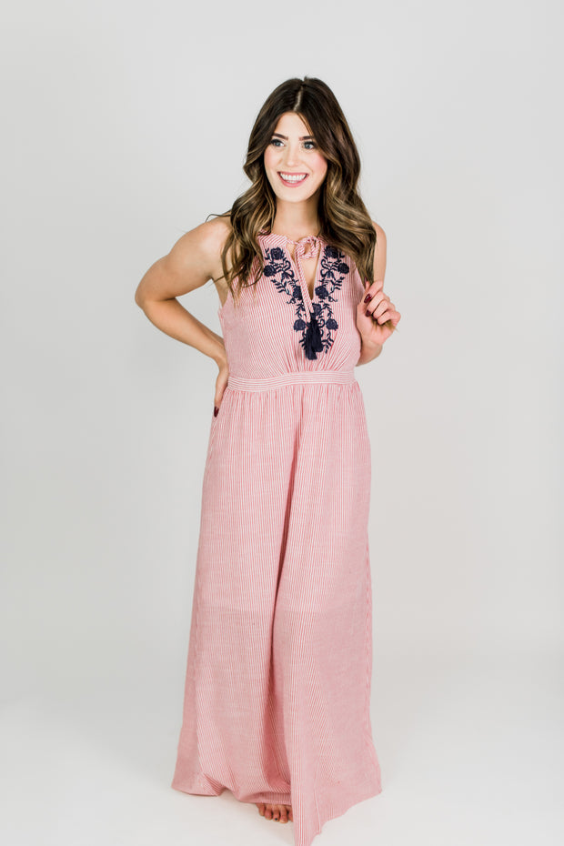 Embroidered Halter Striped Maxi Dress