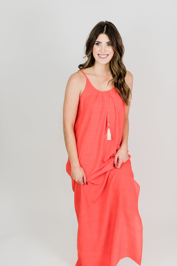 Round Neck Tangerine Maxi Dress
