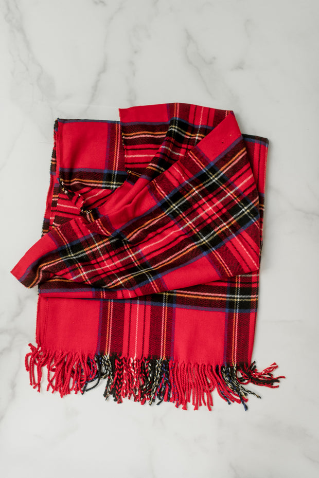 Cashmere Blended Plaid Scarf