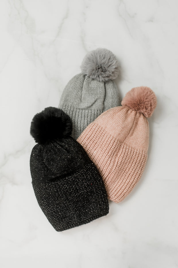 Shiny Knit Ribbed Pom Pom Hat