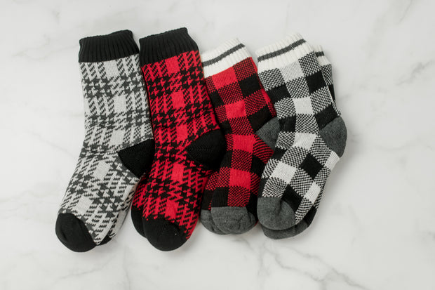 Sherpa Lined Houndstooth Print Socks