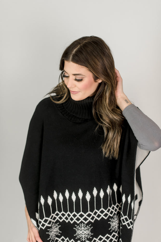 Cotton Knitted Snowflake Poncho