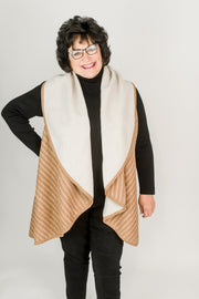 Reversible Striped Shawl Vest