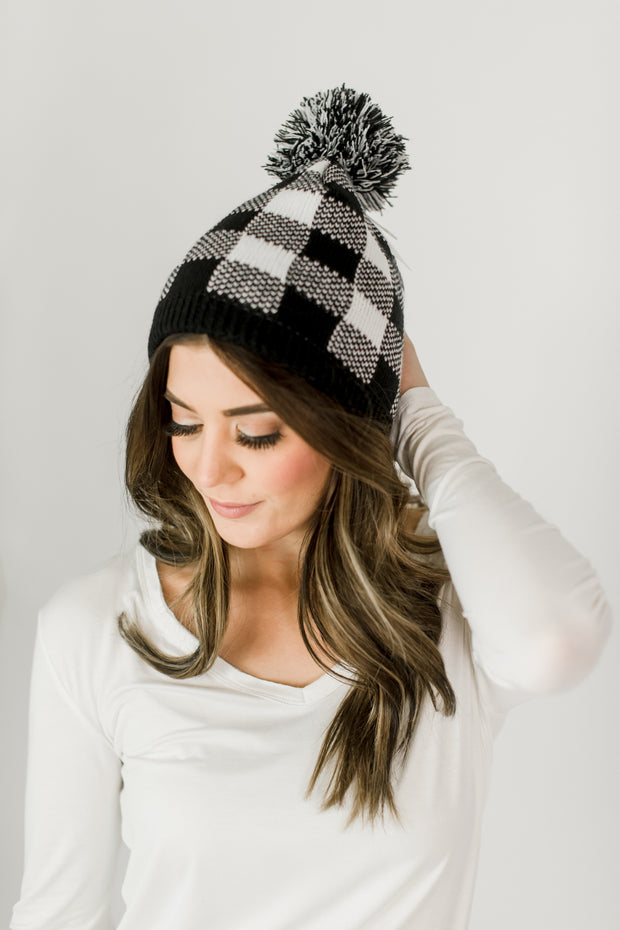 Buffalo Check Hat w/Pom Pom