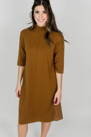 3/4 Sleeve Mock Neck Long Dress