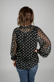 Gold Dot Chiffon Blouse