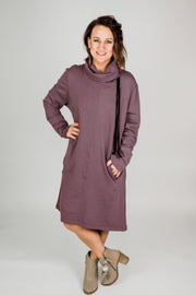 Cowl Neck Sweatshirt Dress