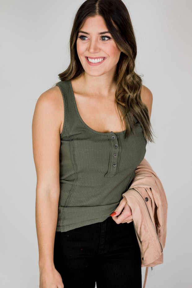 Ribbed Button Racerback Tank