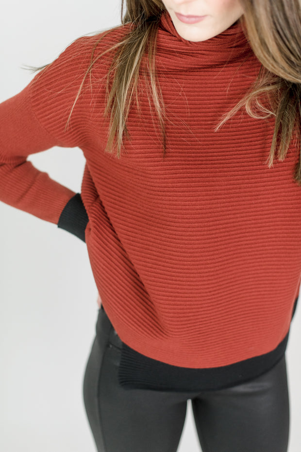 High Neck Ribbed Sweater