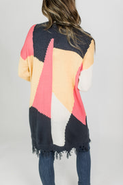Bright Colorblocked Cardigan w/Frayed Hem