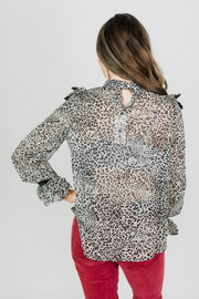 Ruffle Front Leopard Top