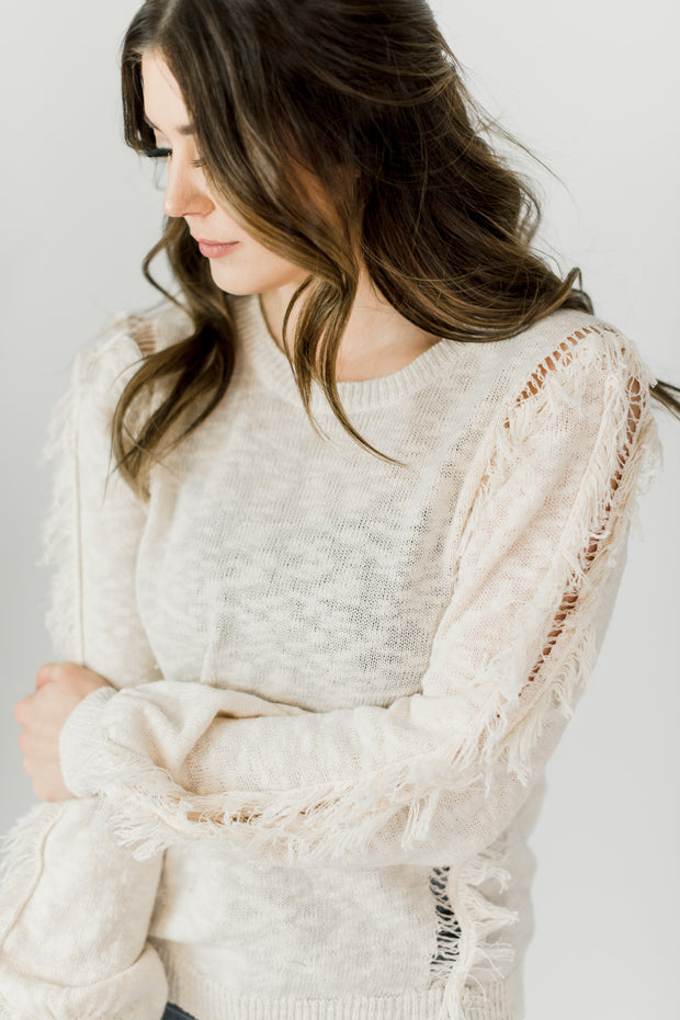 Lightweight Fringe Sleeve Detail Sweater