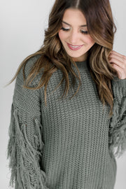 Fringed Sleeve Knit Sweater