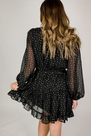Long Sleeve Dot Printed Dress