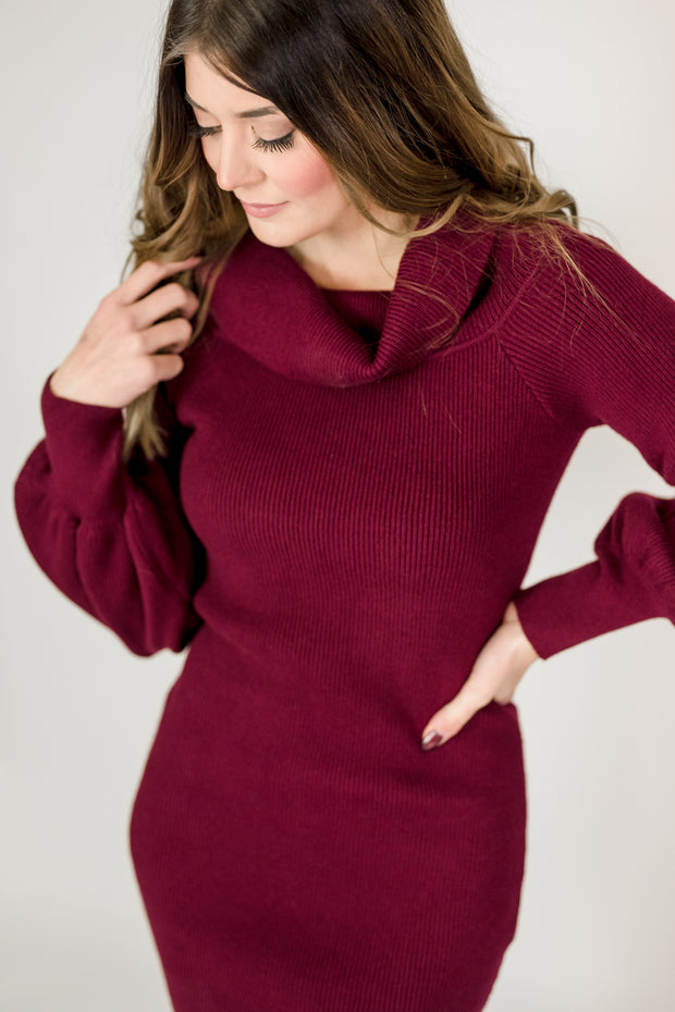 Balloon Sleeve Sweater Dress