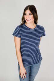 Striped Basic Crew Neck Shirt