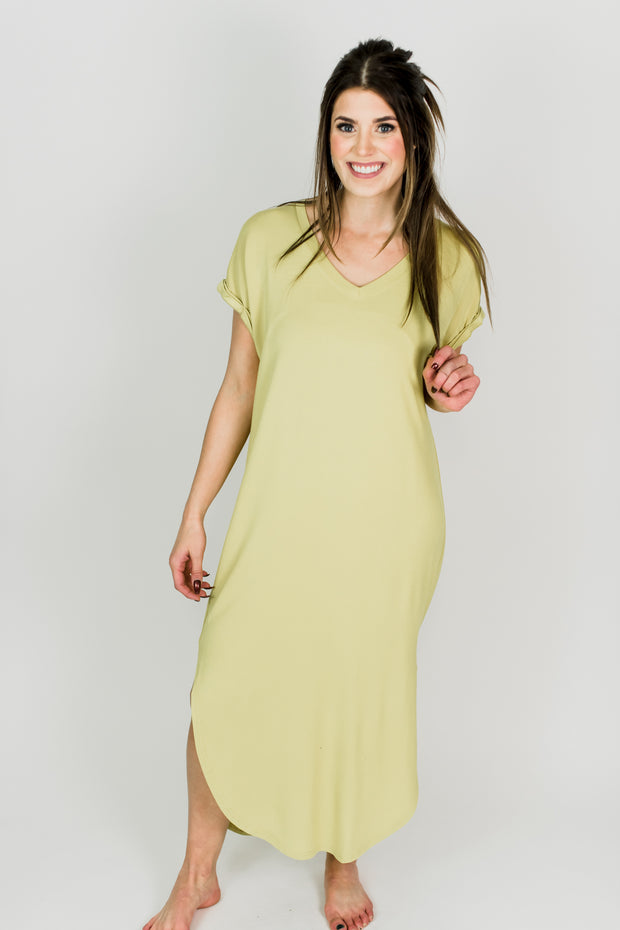 Long Basic V Neck Dress