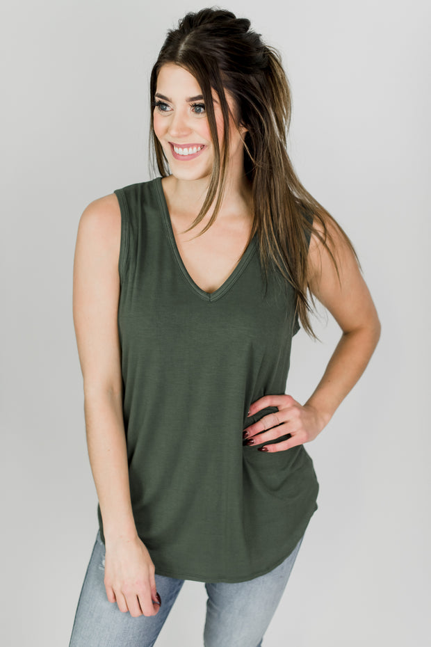 Wide Strap V-Neck Basic Tank
