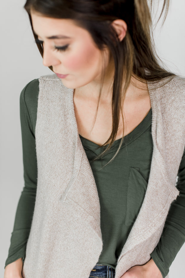 Soft Flowy Front Sweater Vest