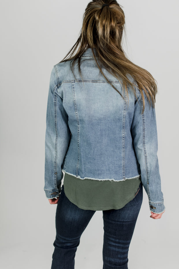 KUT Arielle Raw Hem Denim Jacket