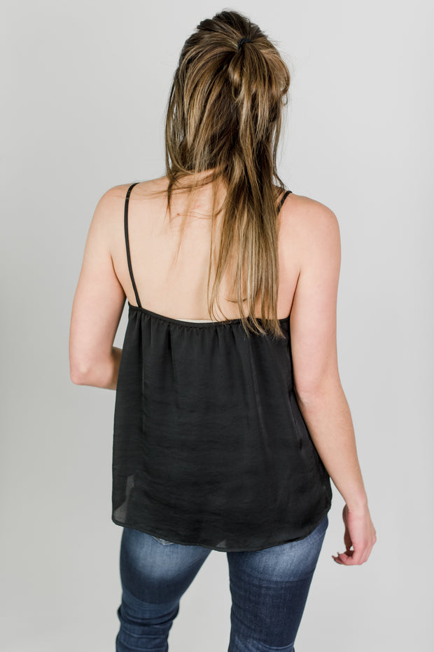 Satin Ruffle V-Neck Tank
